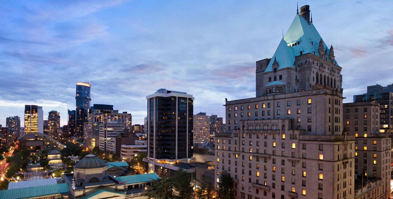 Image of Exterior Night Fairmont Hotel Vancouver, 1939, Member of Historic Hotels Worldwide, in Vancouver, Canada, Explore
