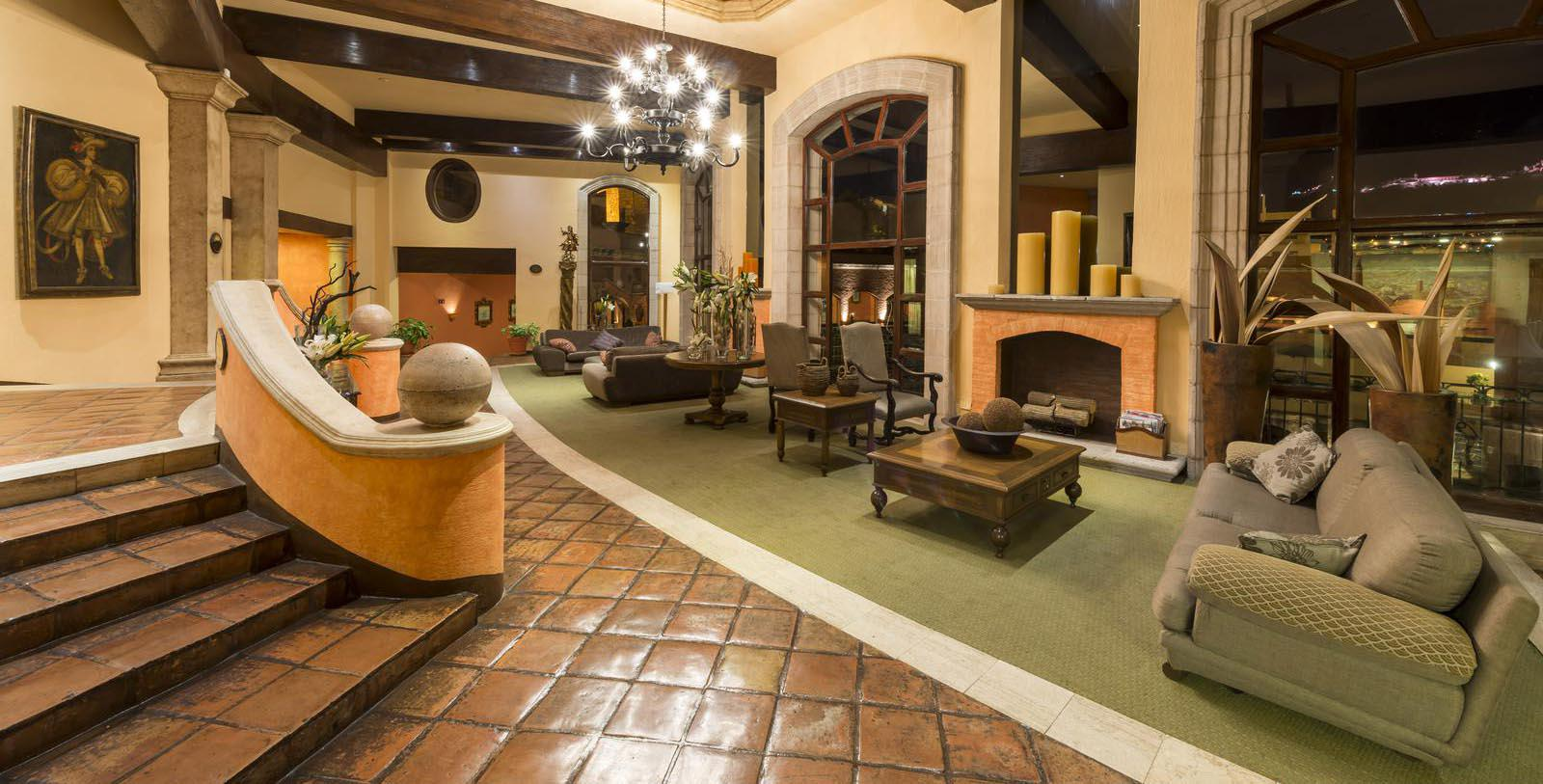 Image of Lounge Area with Fireplace Quinta Real Zacatecas, 1866, Member of Historic Hotels Worldwide, in Zacatecas, Mexico, Explore