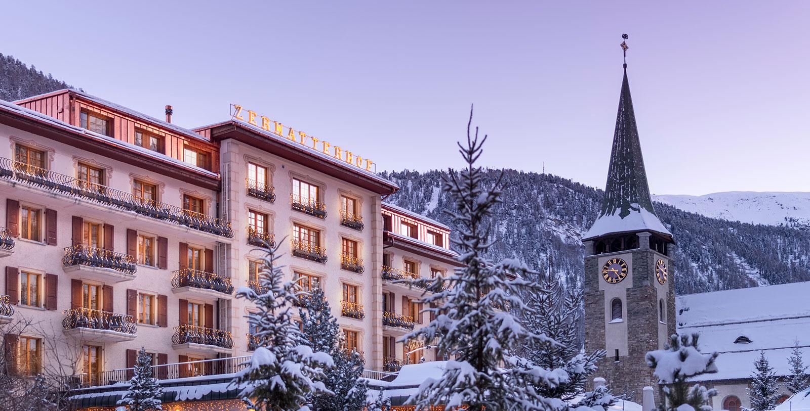 Image of Hotel Exterior, Grand Hotel Zermatterhof, 1879, Member of Historic Hotels Worldwide, Zermatt, Switzerland, Overview