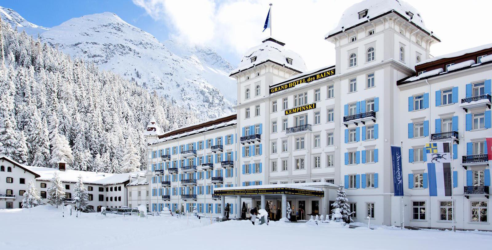 Image of Hotel Exterior Kempinski Grand Hotel des Bains St. Moritz, 1864, Member of Historic Hotels Worldwide, in St. Moritz, Switzerland, Special Offers, Discounted Rates, Families, Romantic Escape, Honeymoons, Anniversaries, Reunions
