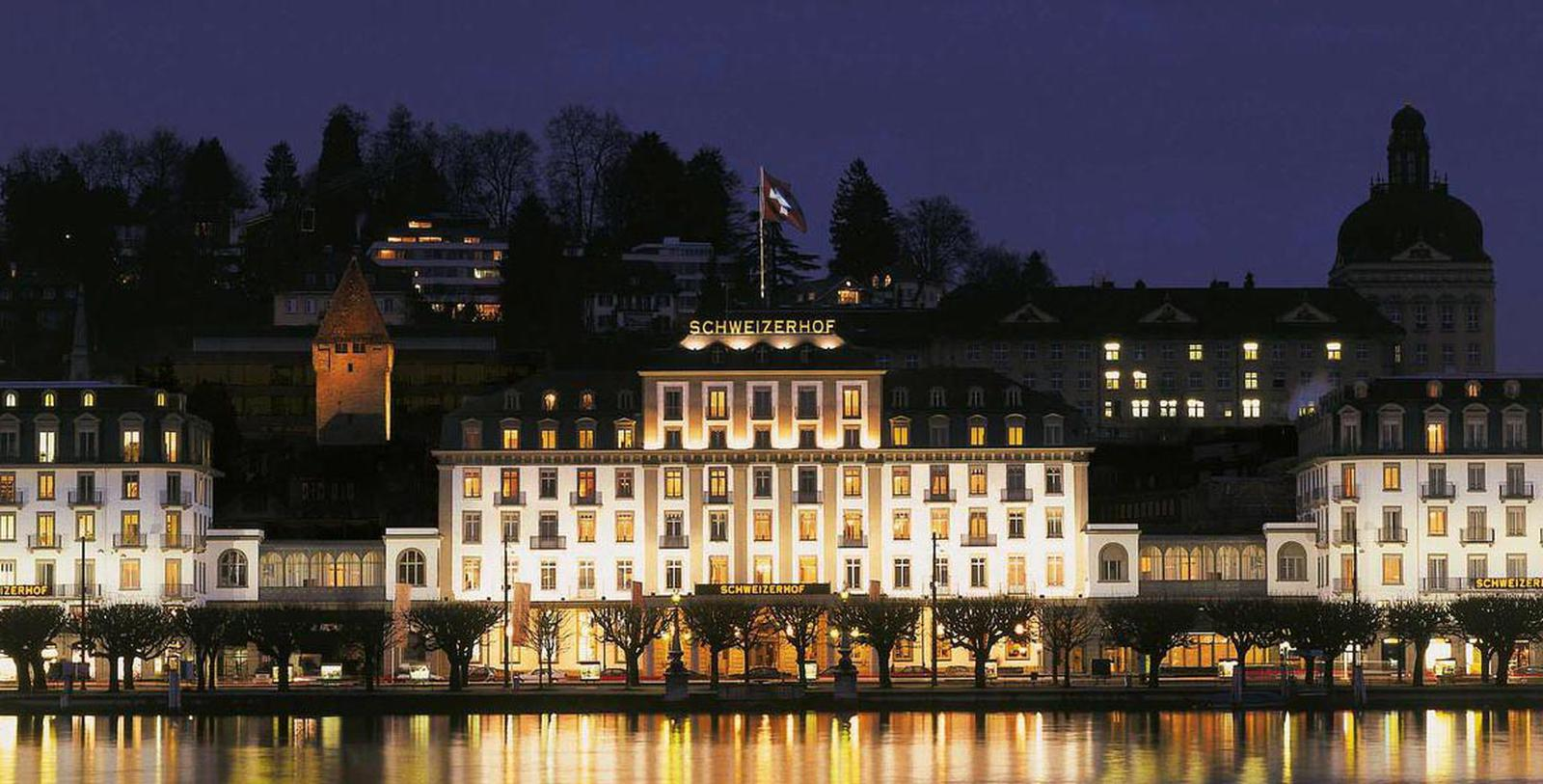 Image of Exterior at Night, Hotel Schweizerhof Luzern, Switzerland, 1845, Member of Historic Hotels Worldwide, Special Offers, Discounted Rates, Families, Romantic Escape, Honeymoons, Anniversaries, Reunions