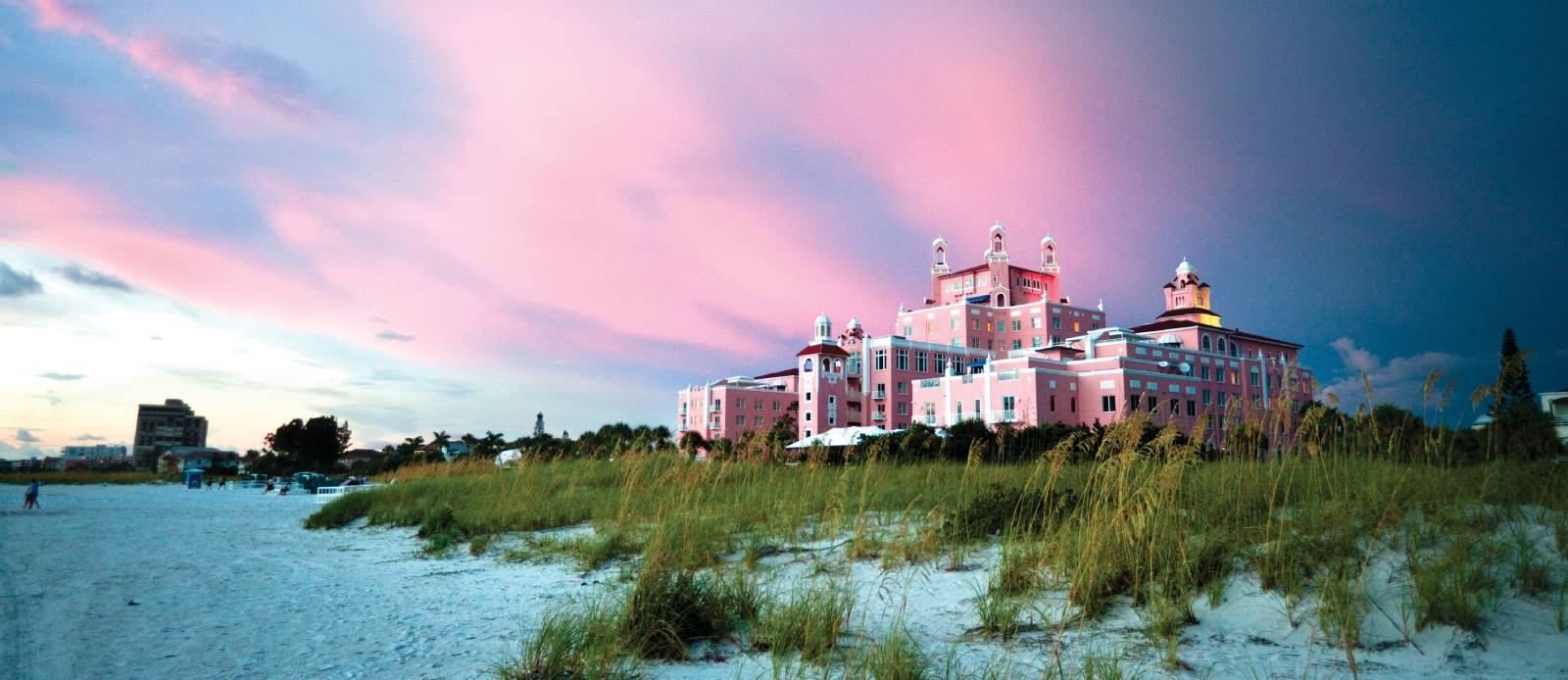 Exterior sunset at The Don CeSar in St. Pete Beach, Florida.