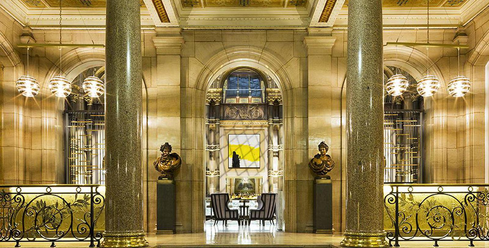 Interior lobby of the Hilton Paris Opera in France.