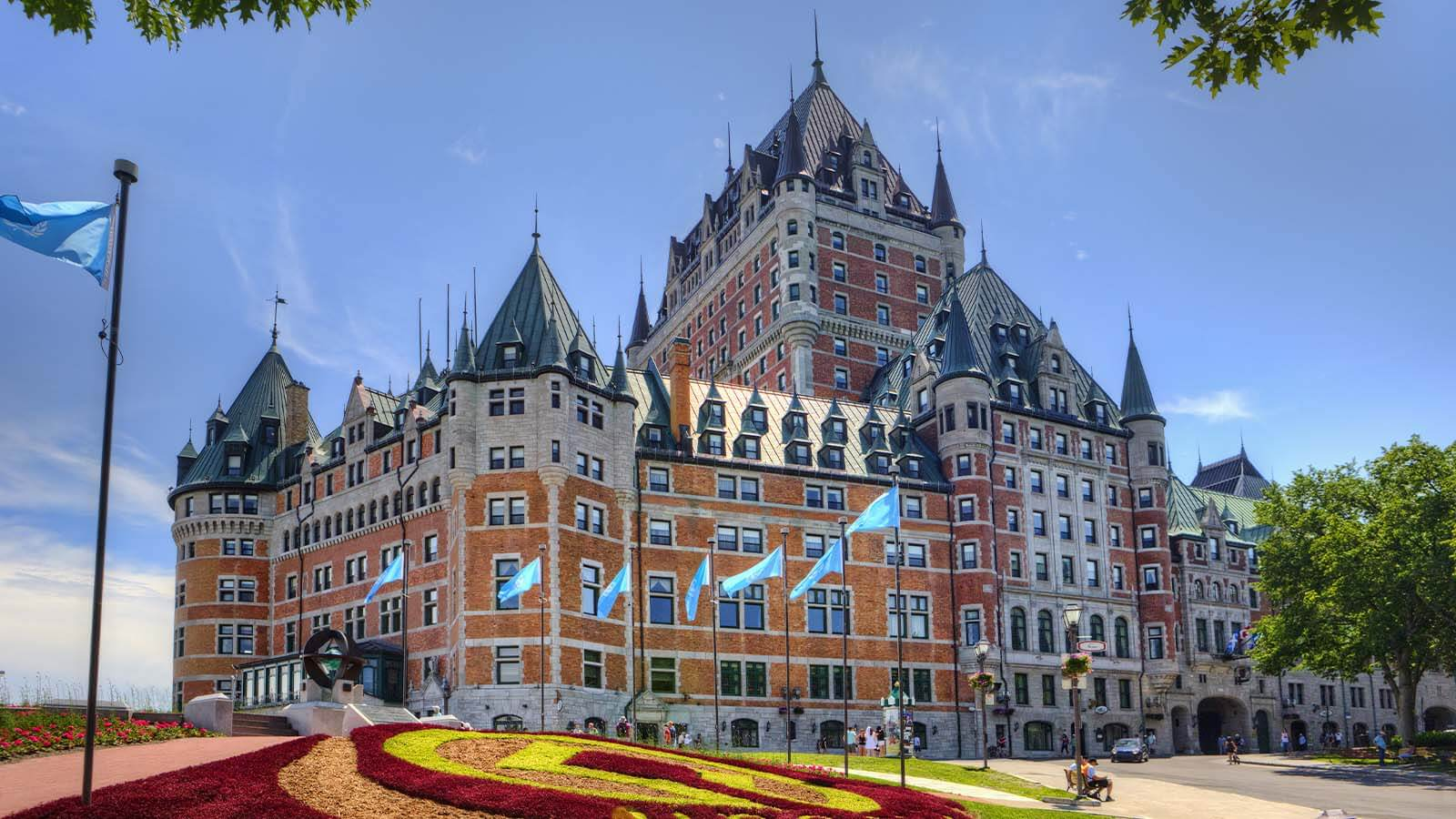 Daytime exterior of the Fairmont Le Château Frontenac in Quebec, Canada.