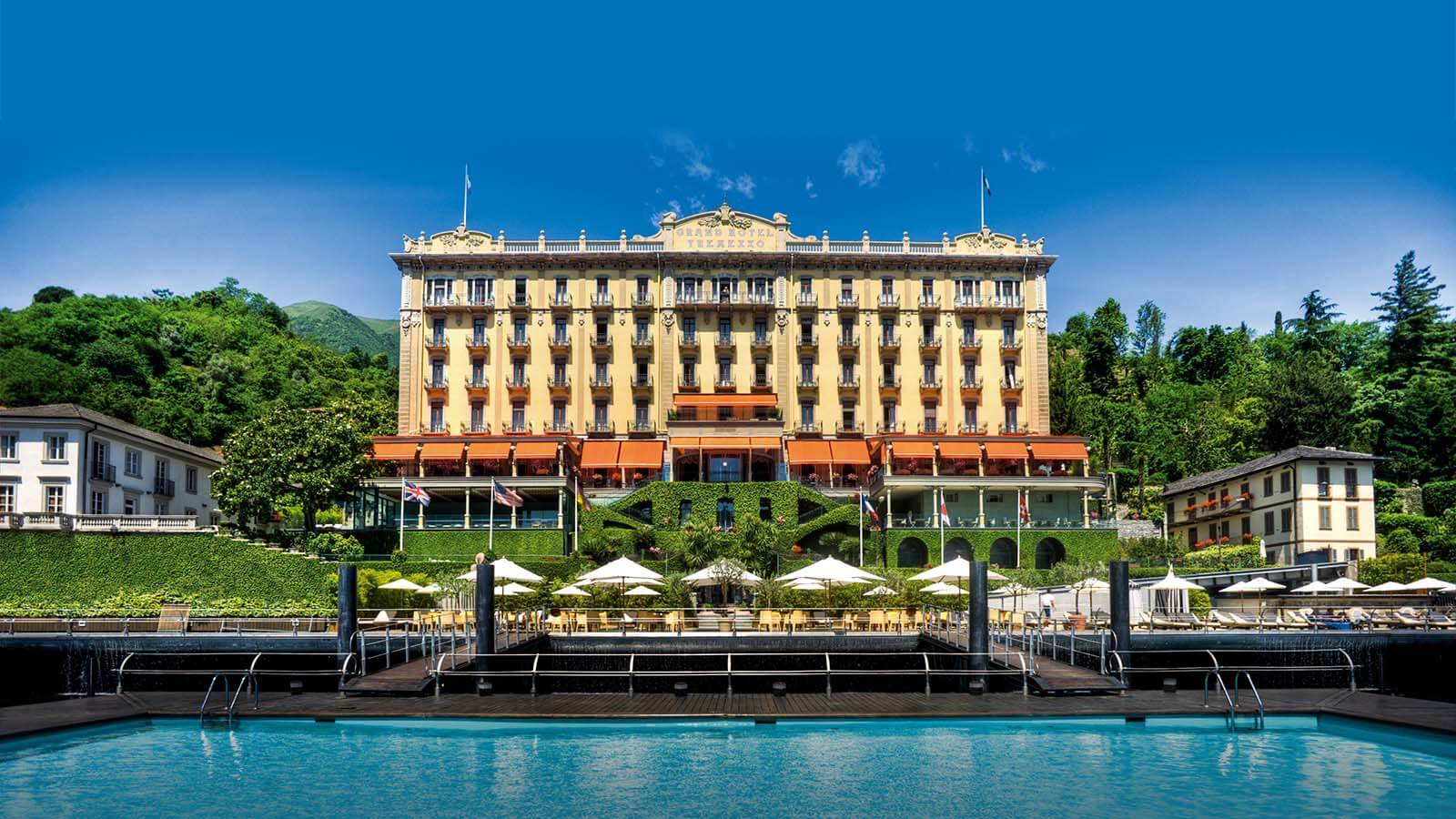 Exterior daytime of the Grand Hotel Tremezzo in Lake Como, Italy.