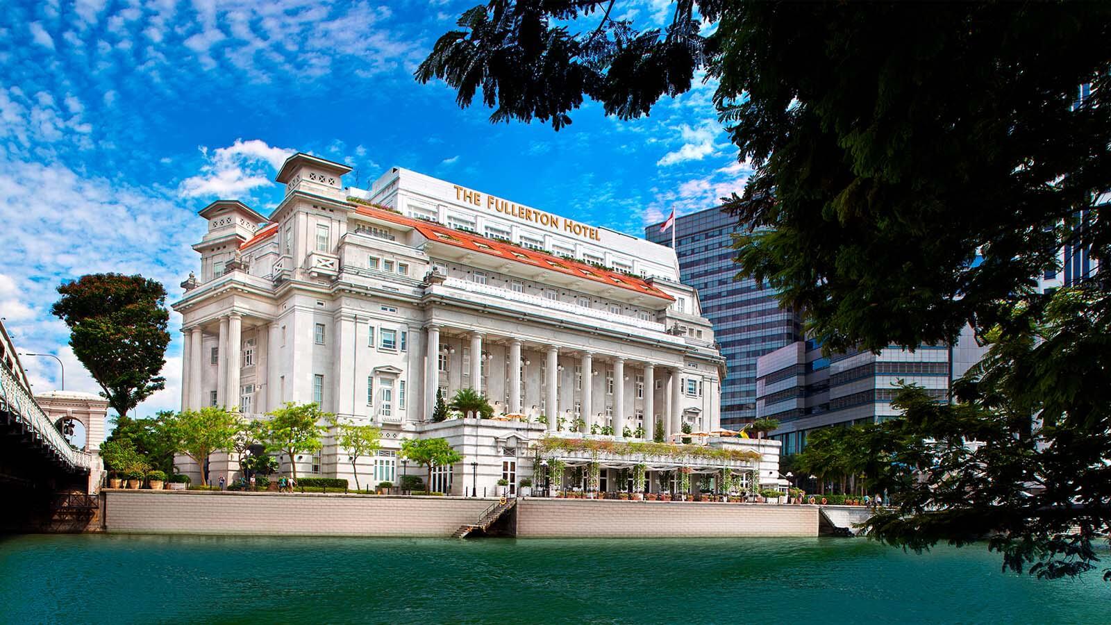 Daytime exterior of The Fullerton Hotel Singapore.