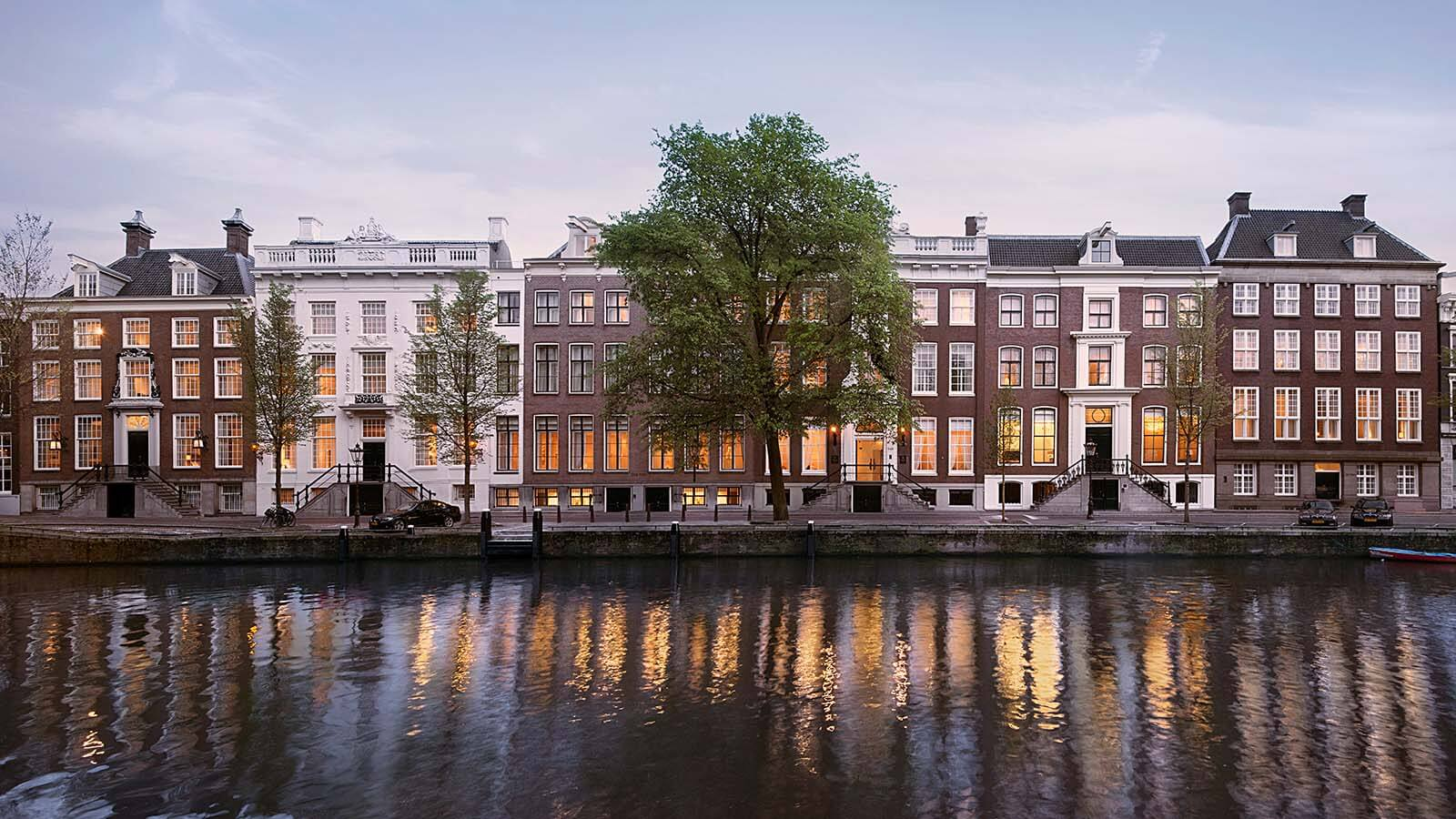 Evening exterior of the Waldorf Astoria Amsterdam in the Netherlands.