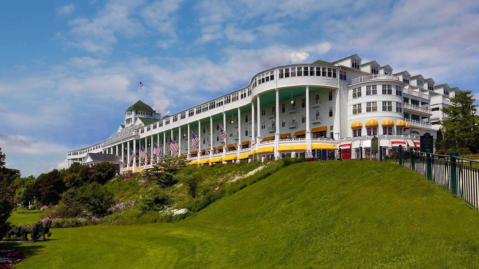 Daytime exterior of the Grand Hotel in Mackinac Island, Michigan.