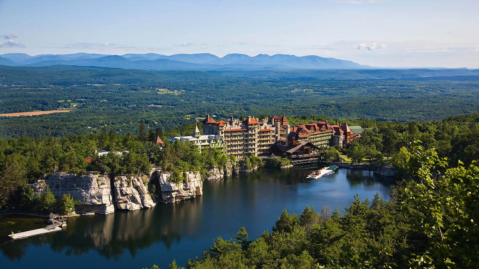 Daytime exterior of Mohonk Mountain House in New Paltz, New York.