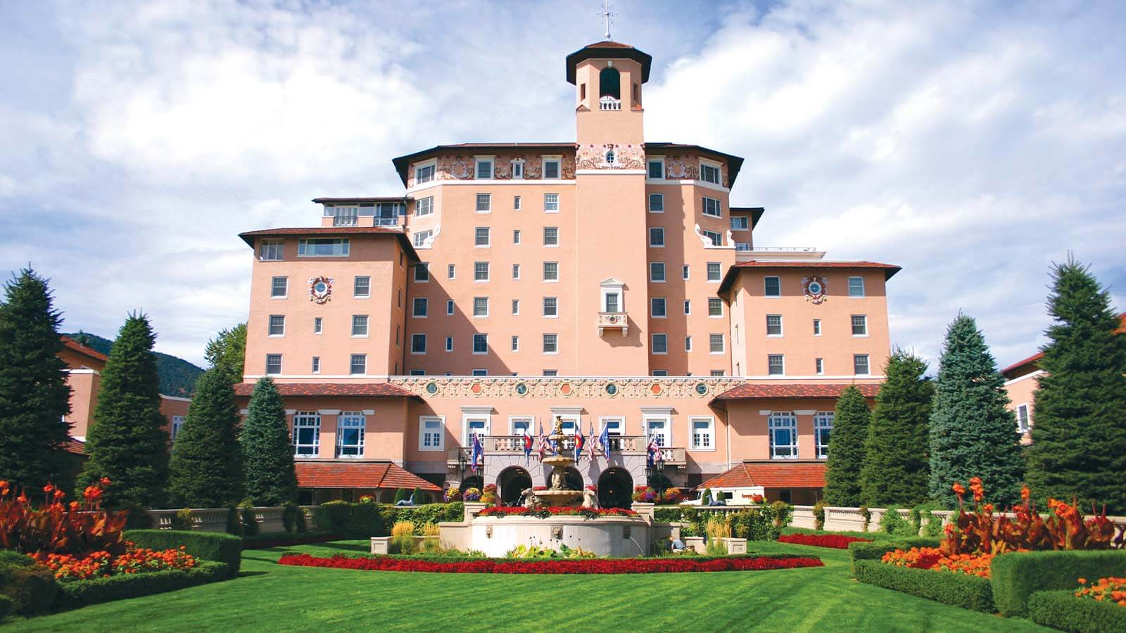 Daytime exterior of The Broadmoor in Colorado Springs, Colorado.