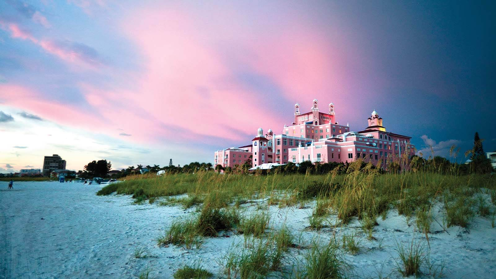 Dusk exterior of The Don CeSar in St. Pete Beach, Florida.