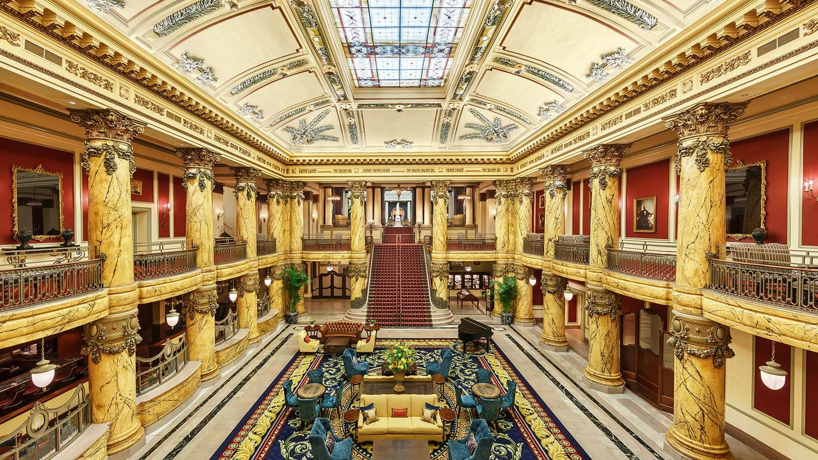 Grand interior lobby of The Jefferson Hotel in Richmond, Virginia.
