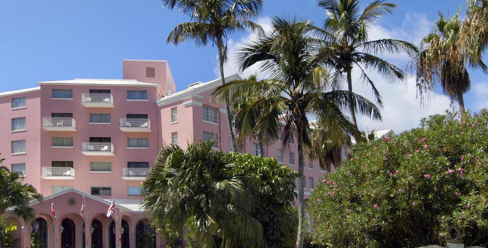 Image of exterior of the Hamilton Princess & Beach Club, A Fairmont Managed Hotel in Bermuda.