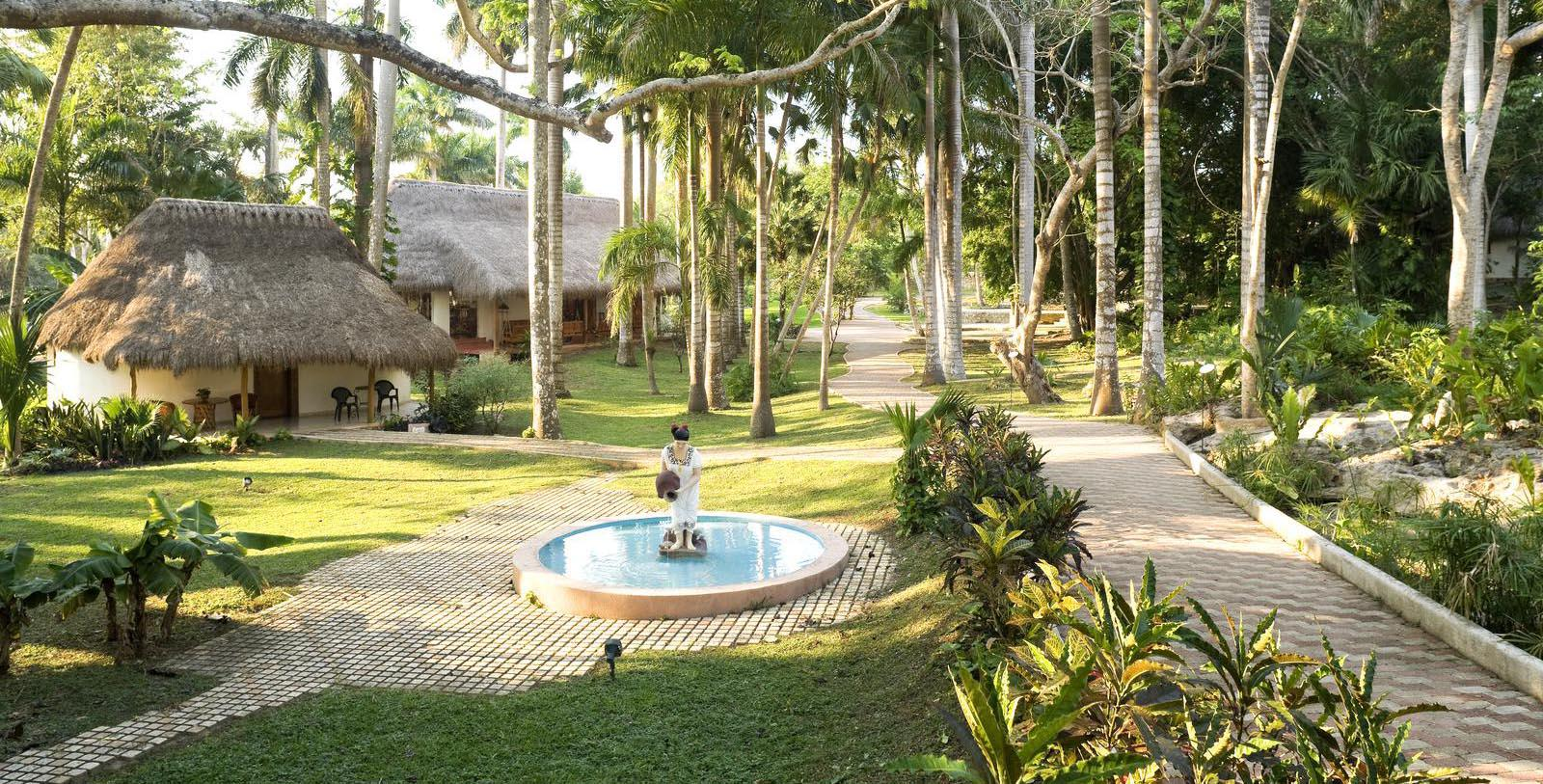 Gardens of the Mayaland Hotel & Bungalows in Yucatan, Mexico.