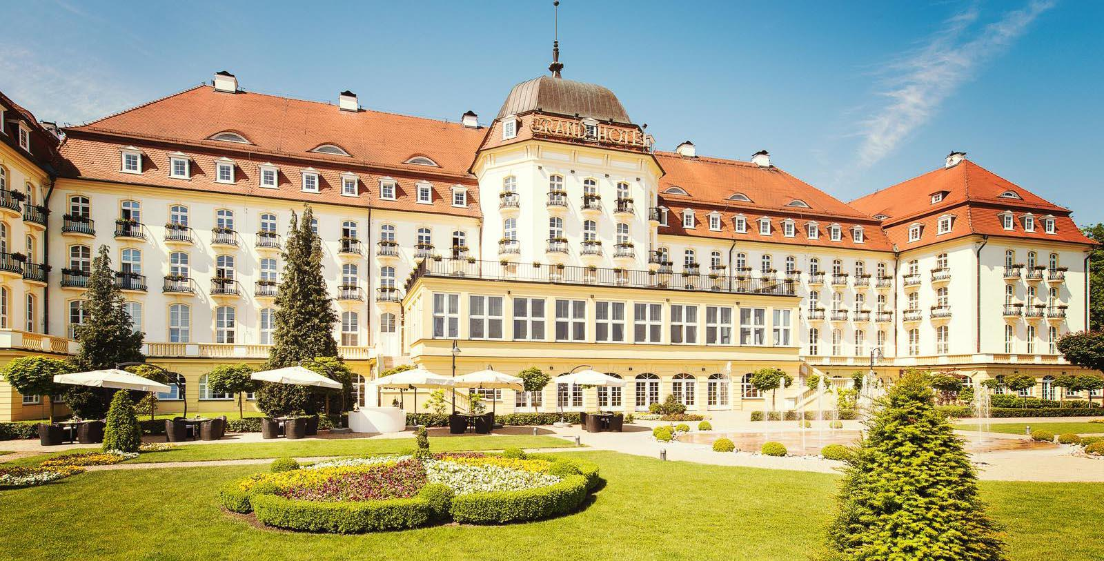 Daytime exterior and gardens of the Sofitel Grand Sopot in Poland.