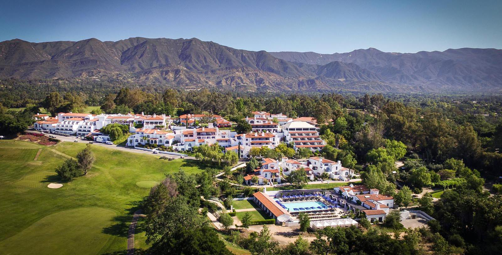 Image of aerial of the Ojai Valley Inn in California.
