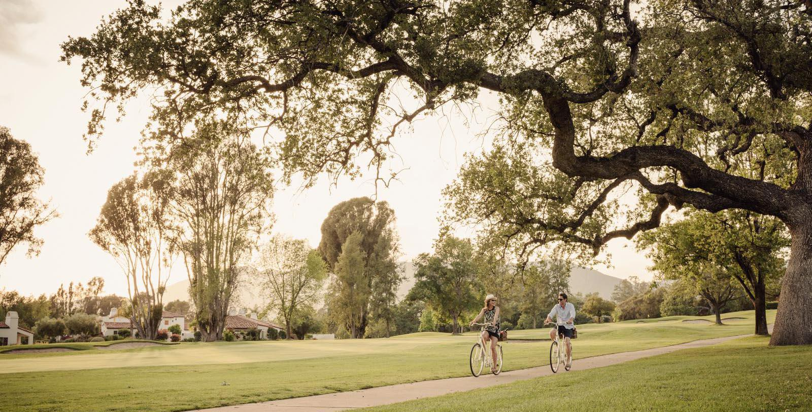 Bike riding through the grounds at Ojai Valley Inn in California.