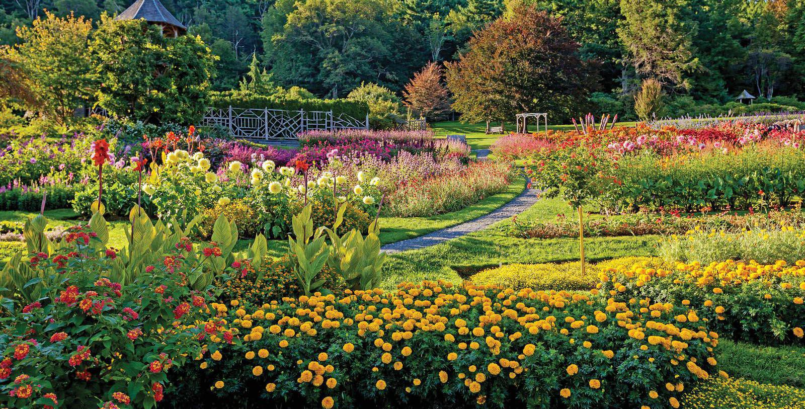 Image of magnificent and lush blooming gardens at Mohonk Mountain House in New York.a