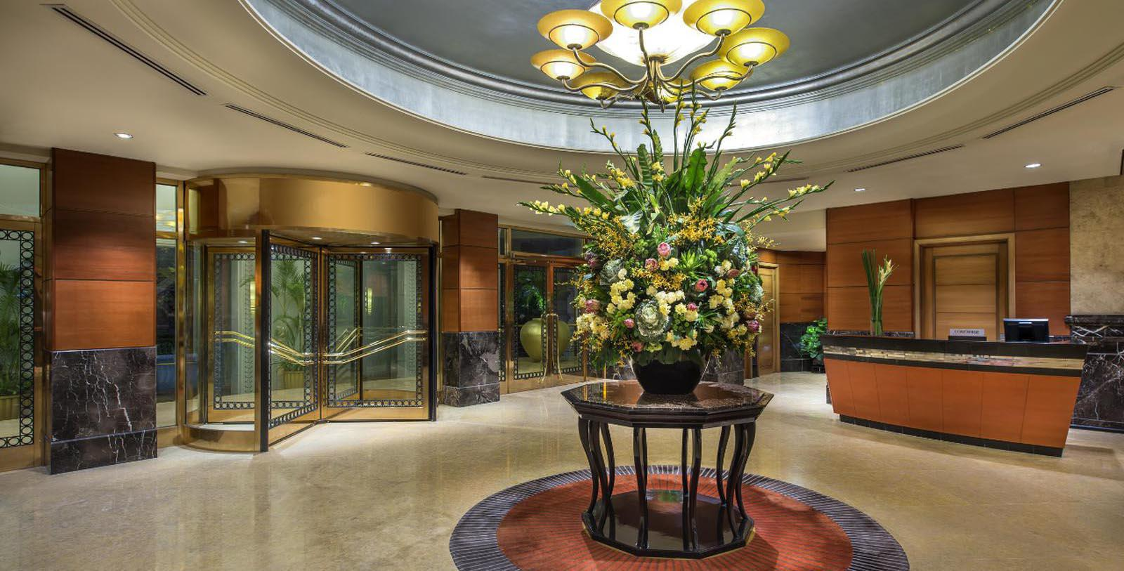 Image of Garden Court is crowned by a glass dome atrium and shimmering Austrian crystal chandeliers.