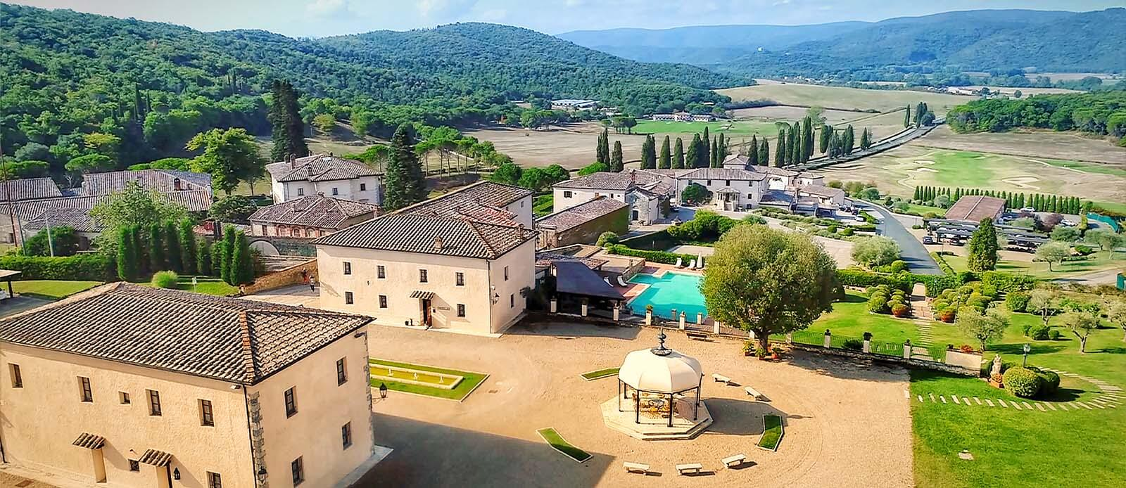 Daytime exterior at La Bagnaia Golf & Spa Resort Siena, Curio Collection by Hilton in Siena, Italy.