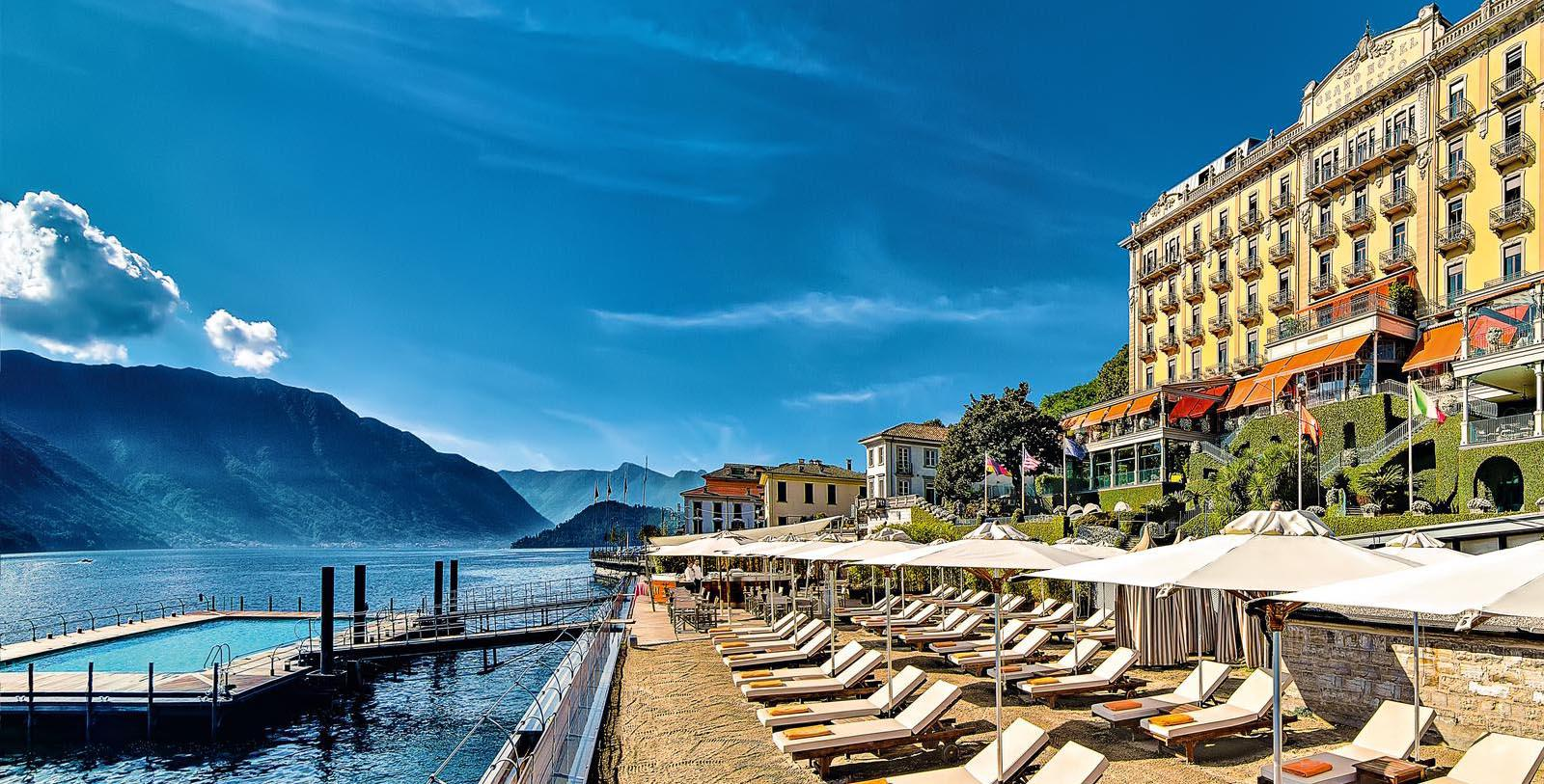 Image of spa infinity pool and lounge at the Grand Hotel Tremezzo at Lake Como, Italy.