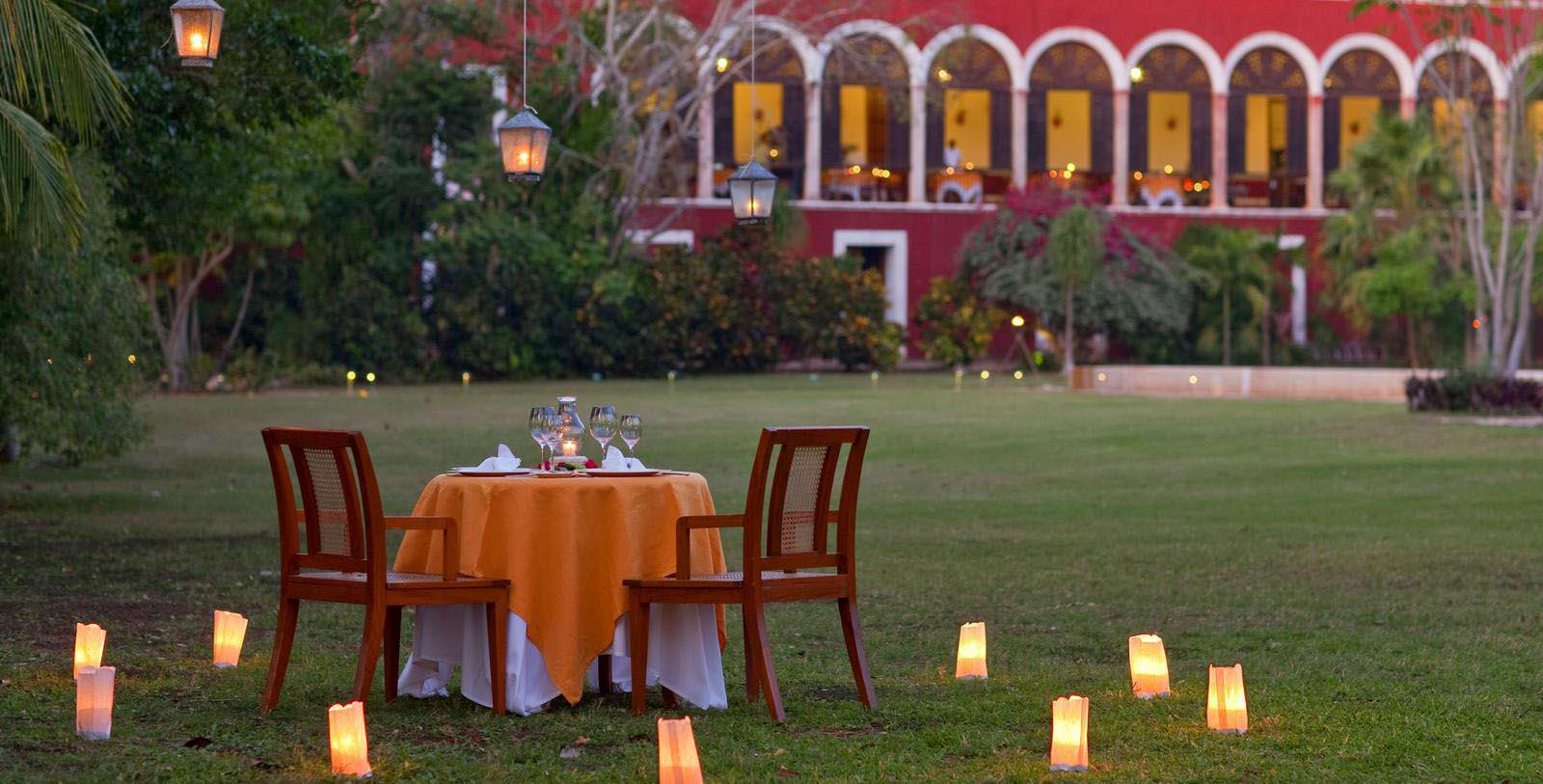 Image of romantic dinner setting for two at Hacienda Temozon, A Luxury Collection Hotel in Yucatan, Mexico.