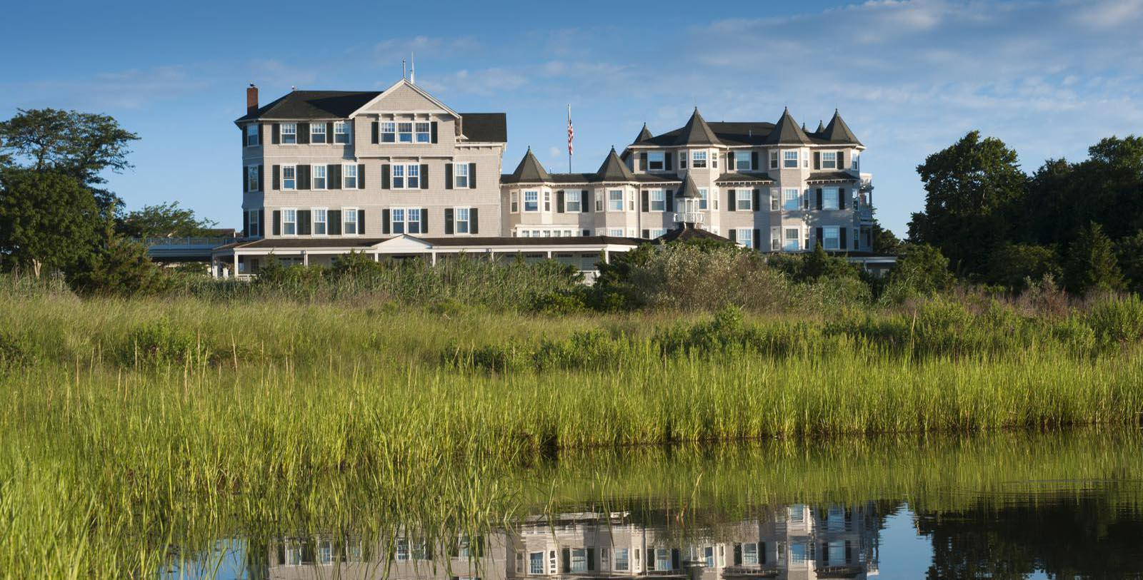 Daytime exterior of the Harbor View Hotel in Edgartown, Massachusetts.