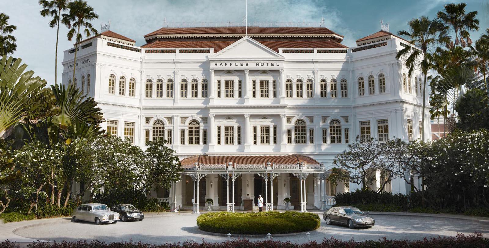 Daytime exterior of Raffles Singapore.