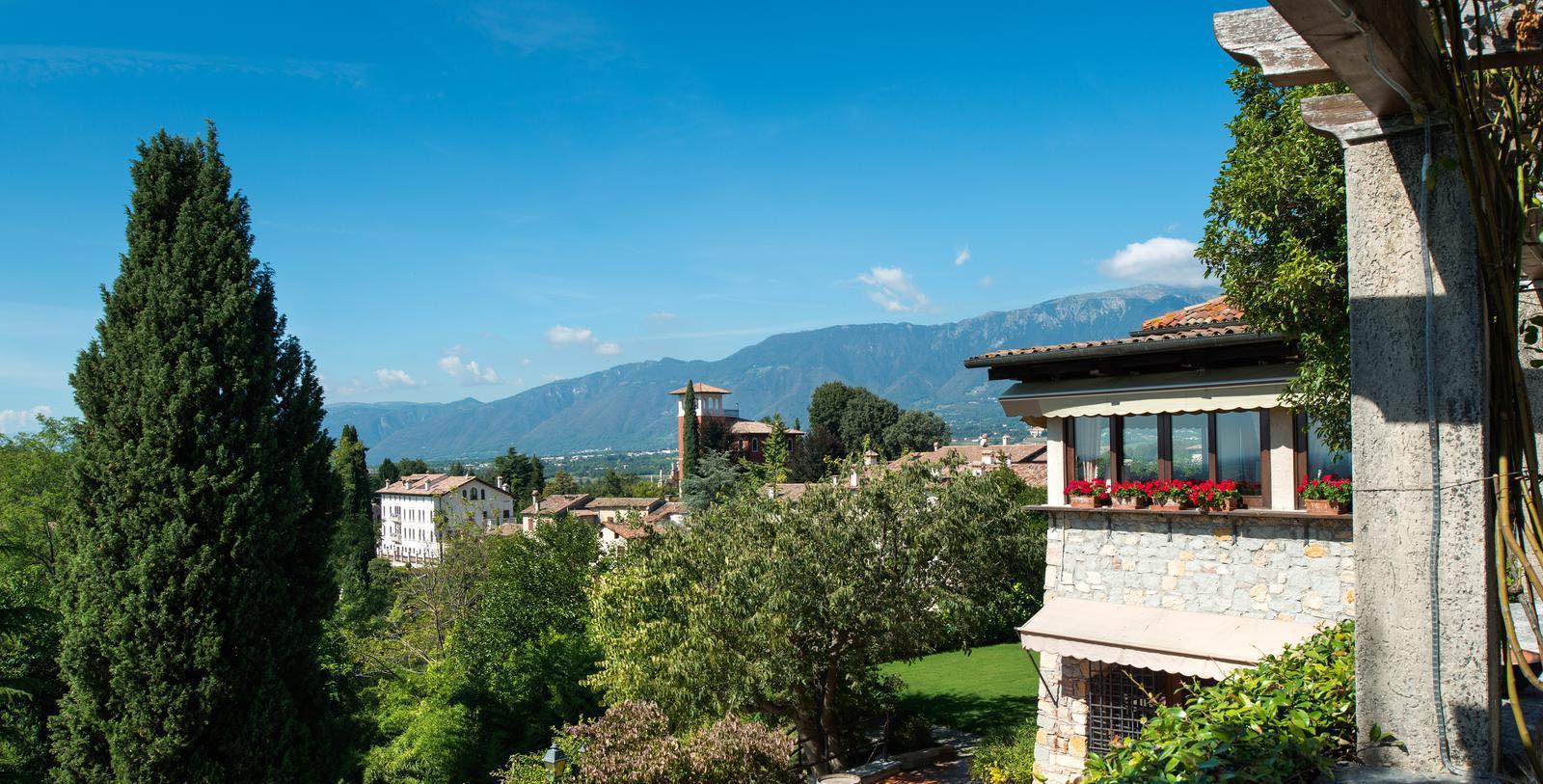 Daytime exterior of Hotel Villa Cipriani in Asolo, Italy.