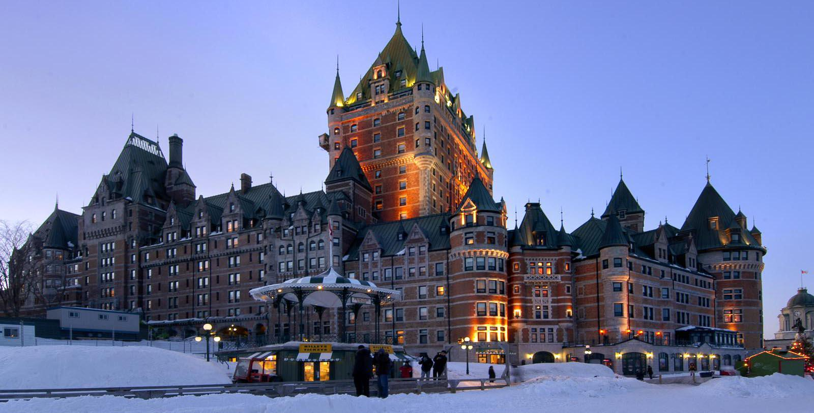 Daytime exterior of the Fairmont Le Chateau Frontenac in Quebec, Canada.