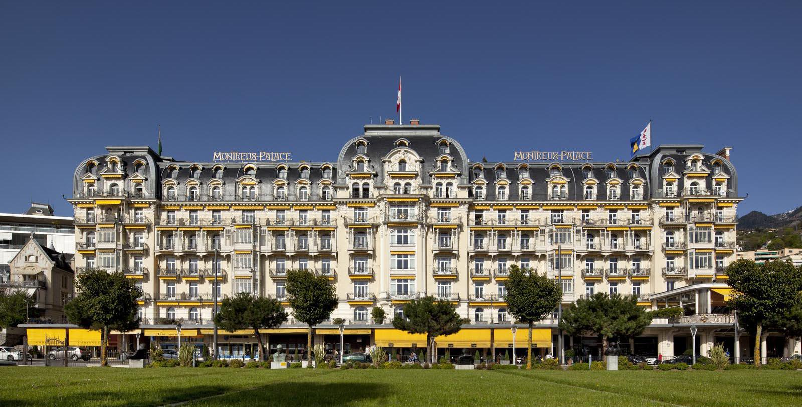 Daytime exterior of the Fairmont Le Montreux Palace in Switzerland.