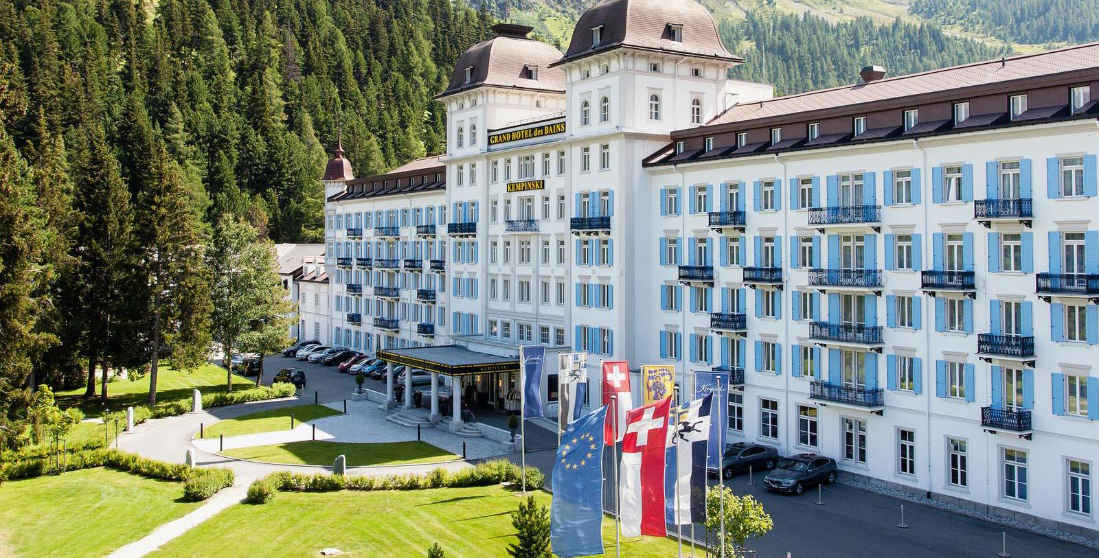 Daytime exterior of Kempinksi Grand Hotel des Bains St. Moritz in Switzerland.