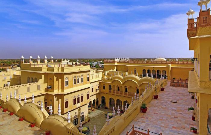 Image of exterior of Alsisar Mahal in Rajasthan, India.