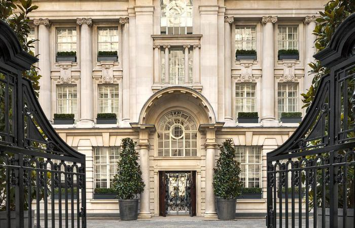 Daytime exterior and entrance to the Rosewood London in England, United Kingdom.