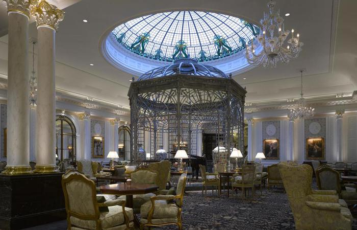 Image of Afternoon Tea in the Thames Foyer restaurant at The Savoy London in England, United Kingdom.