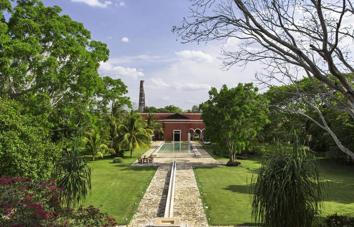 Daytime exterior of Hacienda Temozon, A Luxury Collection Hotel in Yucatan, Mexico.