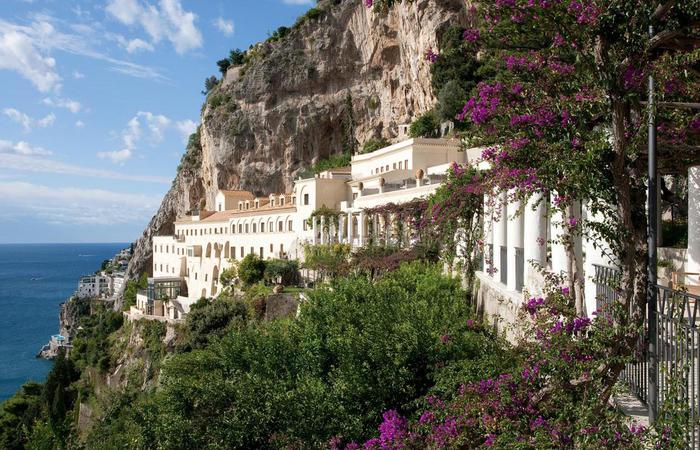 Daytime exterior of the NH Collection Grand Hotel Convento di Amalfi in Italy.