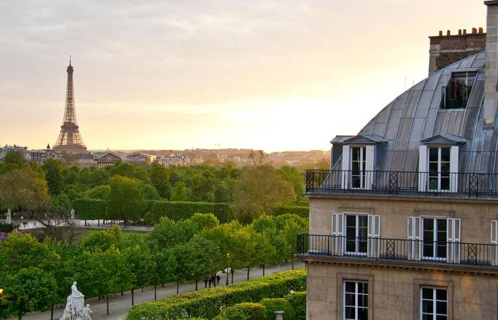 Daytime view of Paris from Hotel Regina Louvre in Paris, France.