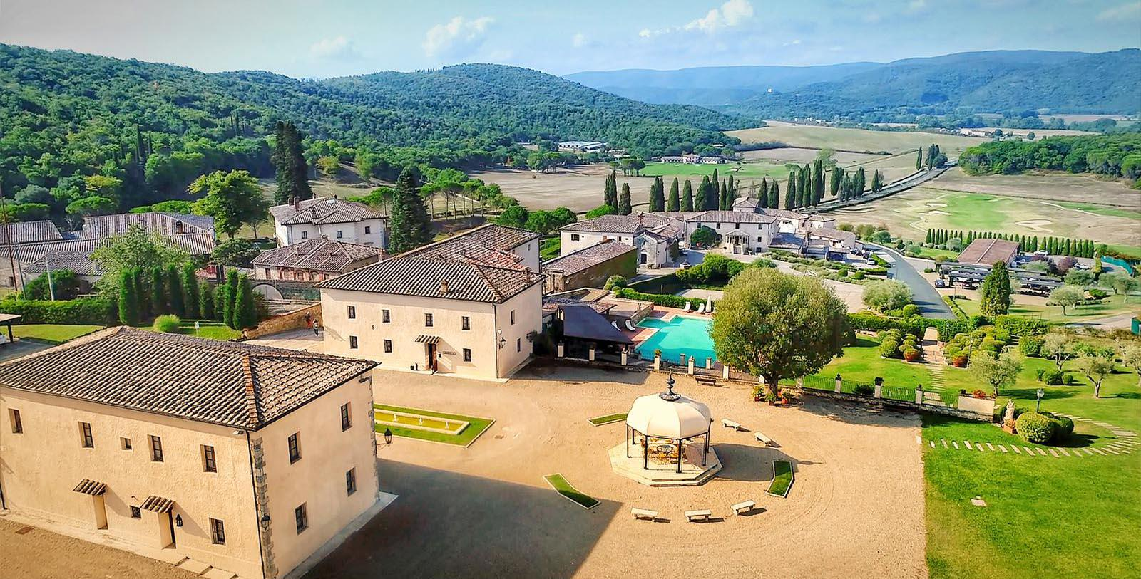 Daytime aerial of La Bagnaia Golf & Spa Resort in Siena, Italy.