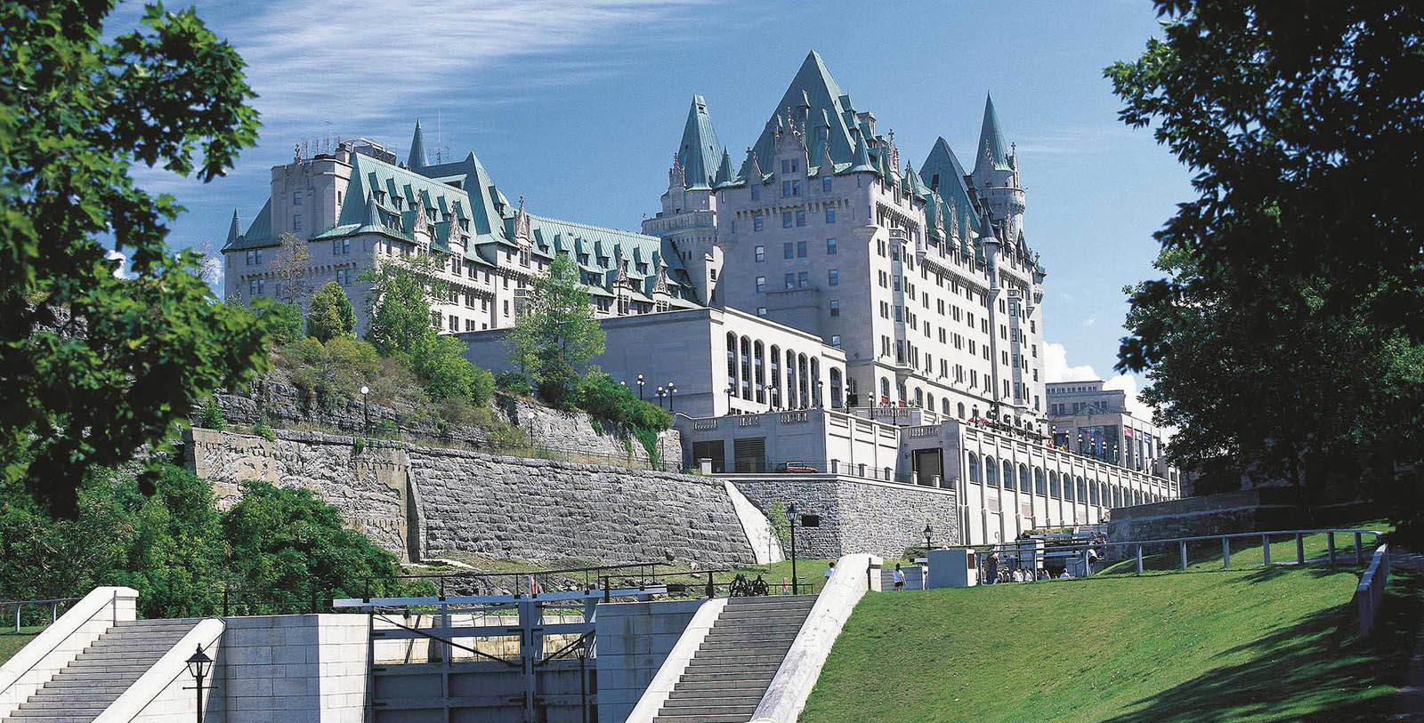 Daytime exterior of Fairmont Chateau Laurier in Ottowa, Ontario, Canada.