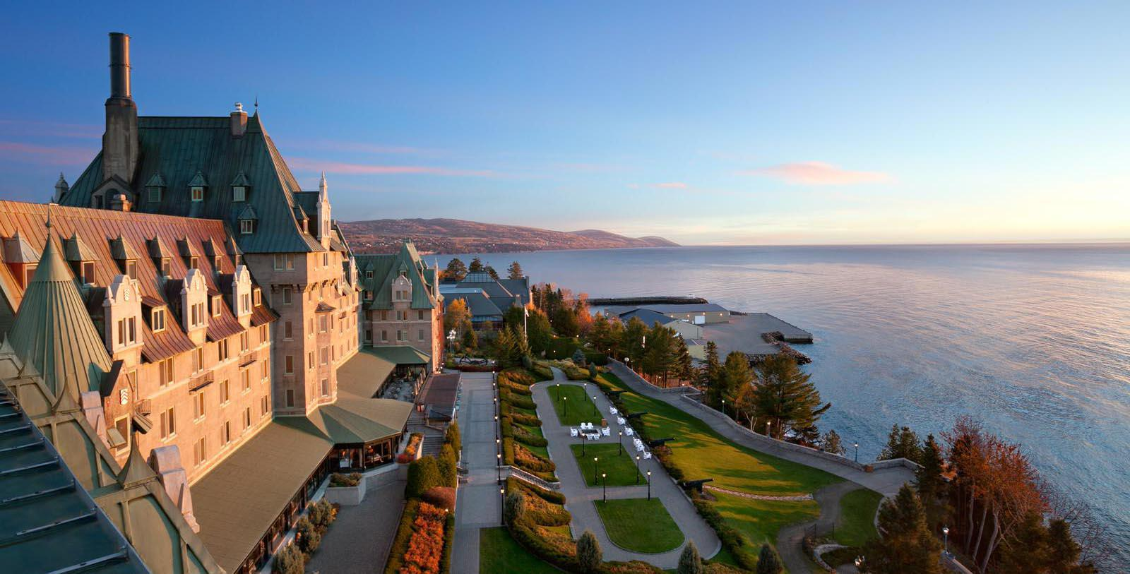 Sunset exterior of Fairmont Le Manior Richelieu in Quebec, Canada.