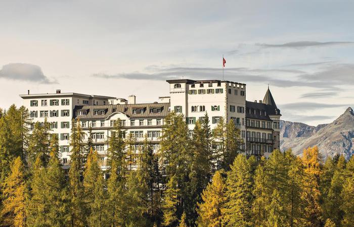 Daytime exterior of Hotel Waldhaus Sils in Sils Maria, Switzerland.