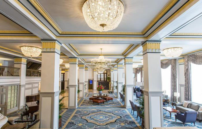 Image of interior lobby of the Francis Marion Hotel in Charleston, South Carolina.