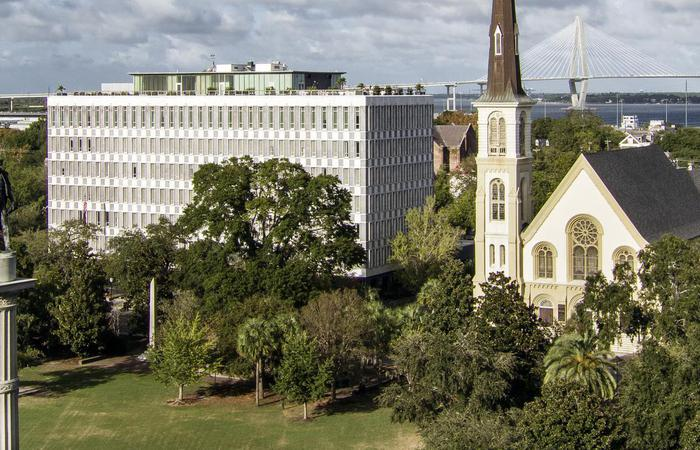 Daytime view of The Dewberry hotel and the Citadel Square Baptist Church.