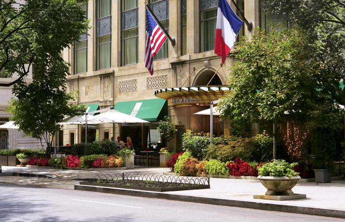 Daytime exterior entrance of the Sofitel Washington DC Lafayette Square.