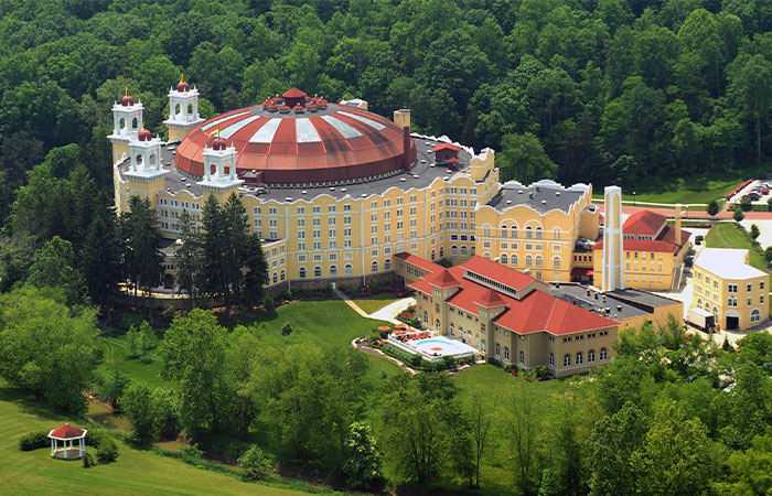 Daytime exterior of West Baden Springs Hotel in Indiana.