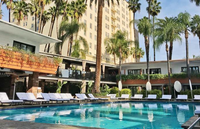 Daytime exterior of the pool at The Hollywood Roosevelt in Los Angeles, California.