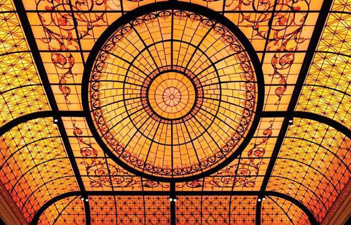 Image of Palm Court's signature soaring stained-glass dome at The Plaza in New York City.