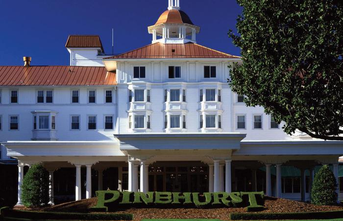 Daytime exterior of the Pinehurst Resort in North Carolina.
