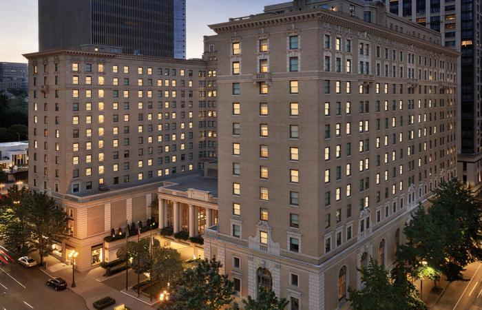 Evening exterior of the Fairmont Olympic Hotel in Seattle, Washington.